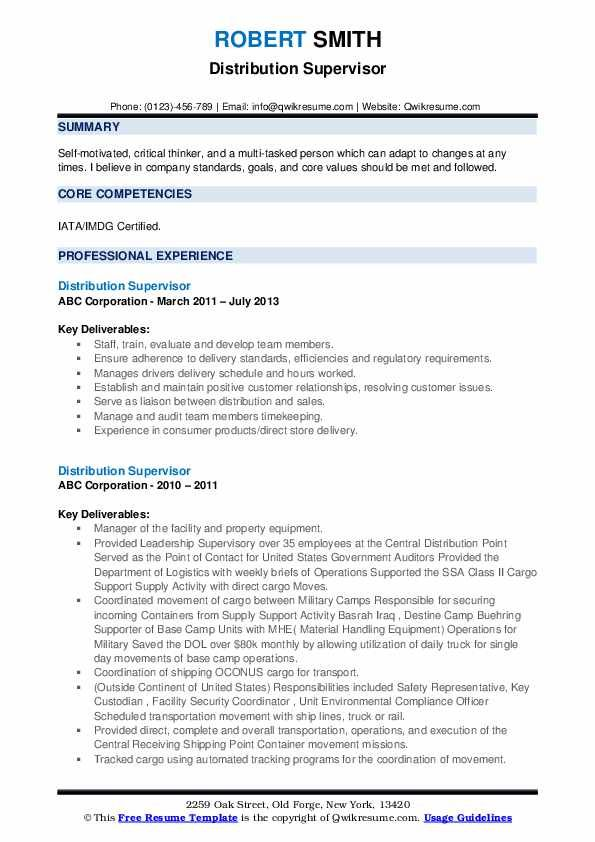 Distribution Supervisor Resume Samples Qwikresume Image Result For Resume Resume Core Competencies Company Goals
