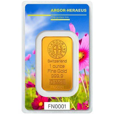 Following Nature Goldbarren von Heraeus, hier 1 Unze Gold ( 1 oz)