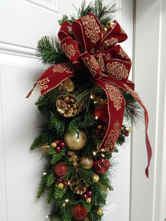 Christmas Wreath Burgundy Tear Drop Swag Timer By