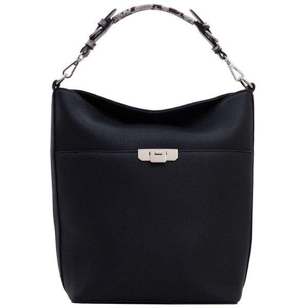 MANGO Pebbled Hobo Bag (79 AUD) ❤ liked on Polyvore featuring bags, handbags, shoulder bags, hobo purses, long strap handbags, long strap shoulder bags, shoulder strap bags and mango handbags