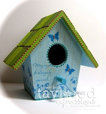 """Altered Wooden Birdhouse: painted and stamped """"Angels Treehouse"""""""