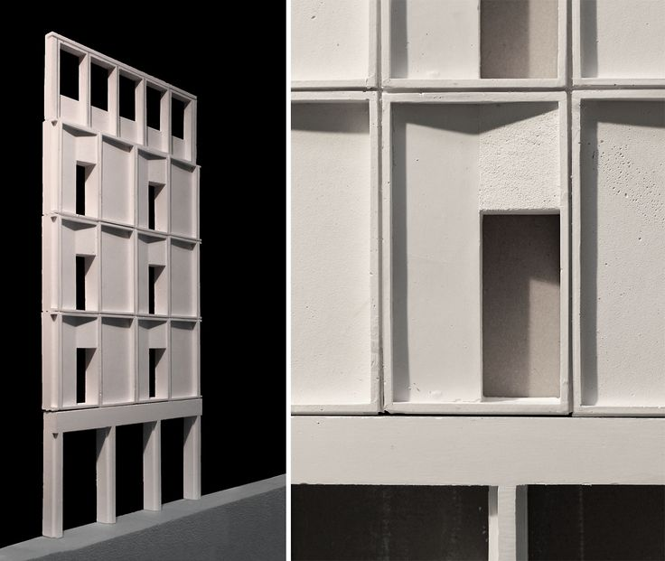 As part of our research into pre-cast concrete panels for Lisson Grove project Michael and Helen have been casting beautiful plaster facade elements. This section shows our proposed 3:4:5 grid with profiled panels that cast shadow across the facade (photo mæ)