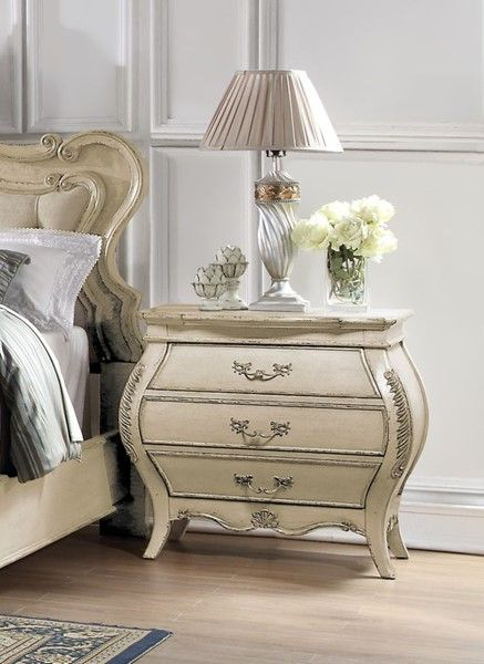 Home Elegance Elsmere Cream Gold Night Stand Upholstered Bedroom