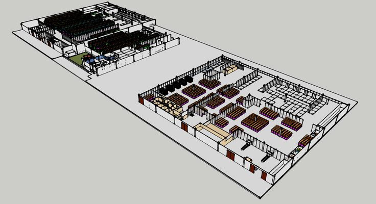 Building re-drawing using Sketchup for storage capacity study #nknproduction