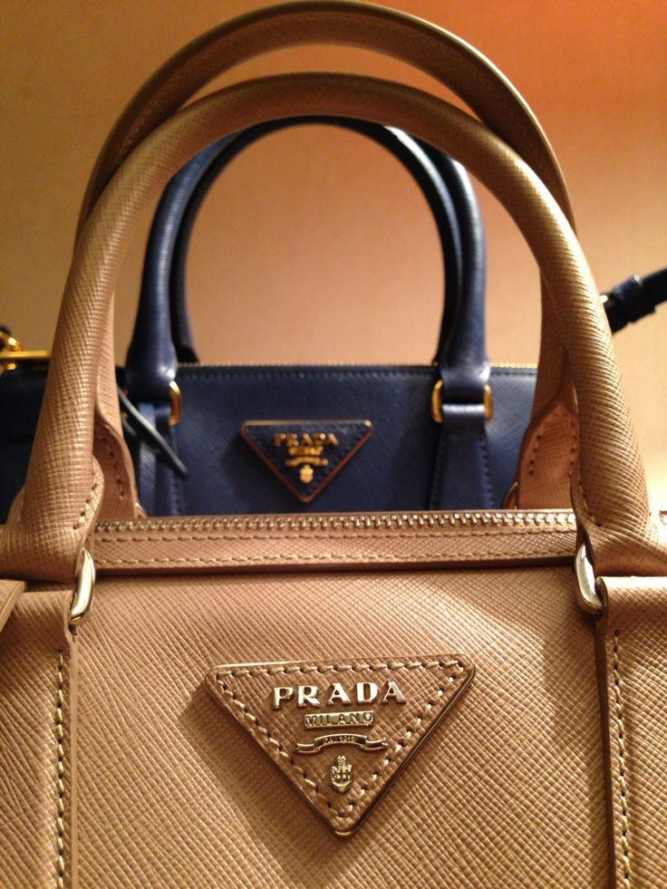 Prada Saffiano Lux #bag Cornflower Blue and Cammeo color | My bags ...
