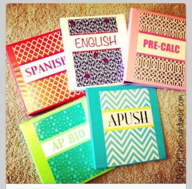 These are some cute composition books that you can make.  You can take any composition book and decorate it.   Items You Need: 1. Composition books 2. Labels for every subject 3. Thin pieces of duct tape  Steps: 1. Take the label lay it in the position you want on your notebook. 2. Use your strips of thin duct ape and tape it to the book.  Before you know it, you have lots of cute journals for school.