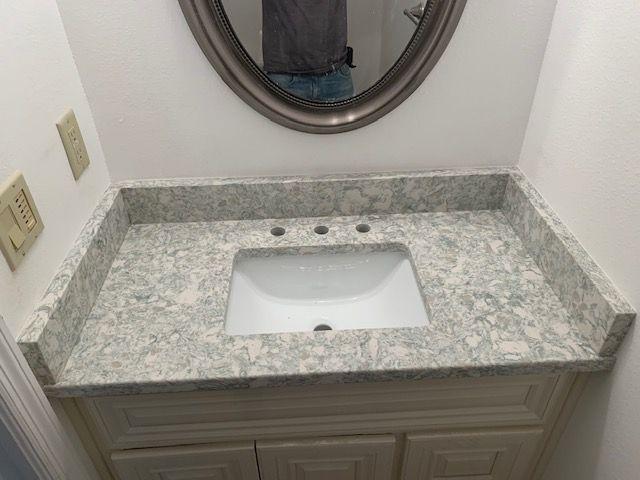 Beautiful Custom Made Bathroom Countertop Made By Using Oceanus