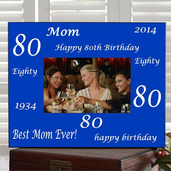 Personalized picture frame is the perfect gift to showcase a treasured photo of the 80th birthday gathering!  Available in your choice of 6 color schemes, the frame can be personalized with up to 3 lines.