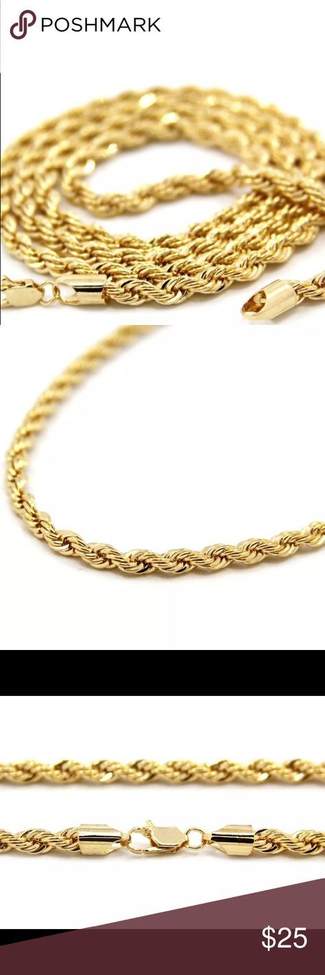 """Men's 14K Gold 4mm rope chain 24"""" Gold chain 14K engraved on it, sterling silver dipped in gold Jewelry Necklaces"""