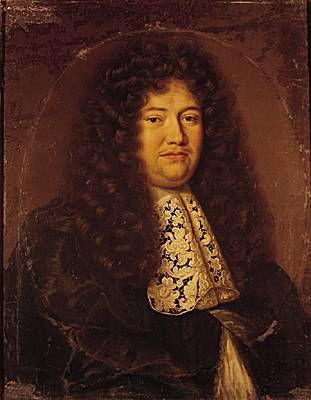 """Louvois, portrait. - En 1672, Michel Le Tellier devient ministre d'Etat et entre au Conseil d'en Haut. C'est lui qui découvrira l'existence du complot de Latréaumont en 1674, en pleine guerre de Hollande. Il intrigue contre Jean Baptiste Colbert pendant l'""""Affaire des Poisons"""" et à la mort de ce dernier, obtient sa place de surintendant des Bâtiments, Arts et Manufactures de France (6 sept 1683) ce qui lui permet de prendre en main la construction du château de Versailles."""