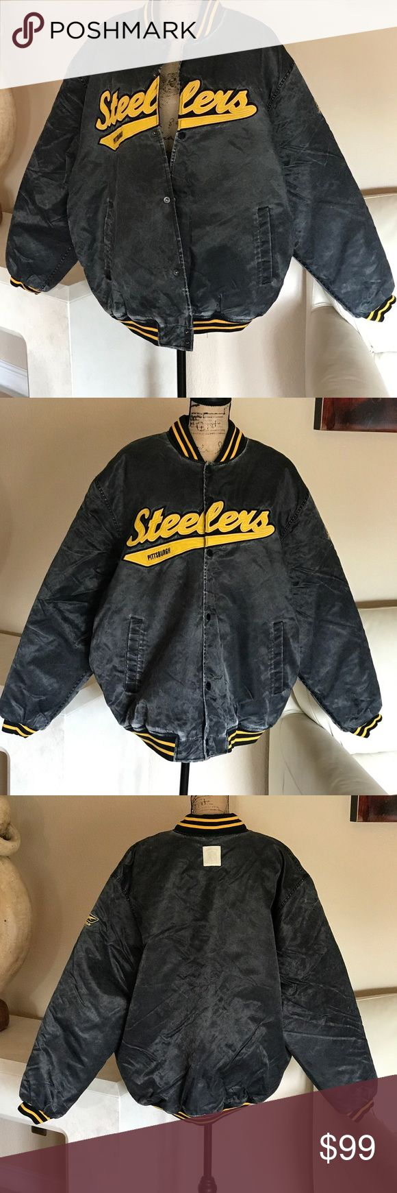 "Pittsburgh Steelers Gridiron Classic Size XL/EX/TG Pittsburgh Steelers Uniquely designed Gridiron jacket BY REEBOK  that resembles worn Steel Workers Jacket. Snap-front closure, quilted look inner shell with zippered front pocket. NEW-NEVER WORN GIFT This is a BIG TALL mans jacket sized XL/EX/TG."" Sleeve length approximately 27.5"" Armpit to armpit measures approximately 33"" length of Jacket is approximately 32"" Reebok Jackets & Coats Performance Jackets"