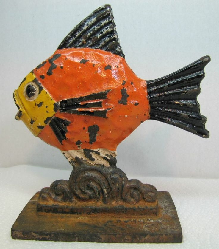 Door stop. See more. *RARE Antique Cast Iron FISH Doorstop Ornate Scales  Fins old Paint - 500 Best Door Stops - Vintage Cast Iron Images On Pinterest Door