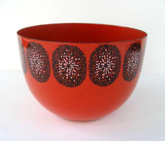 Kaj Franck Finel Enamel Bowl Red with Black and by SplendidJunk