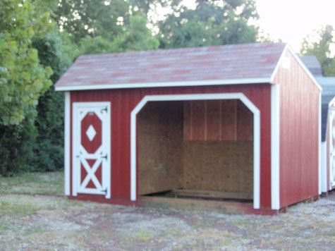 The Horse Shed    The Horse Shed makes a perfect shelter for your horses plus provides storage room for all your tack and equipment. You can add a saddle rack for the perfect place  to keep your saddles. The horse shed comes standard with treated 3/4″ plywood on the inside walls.