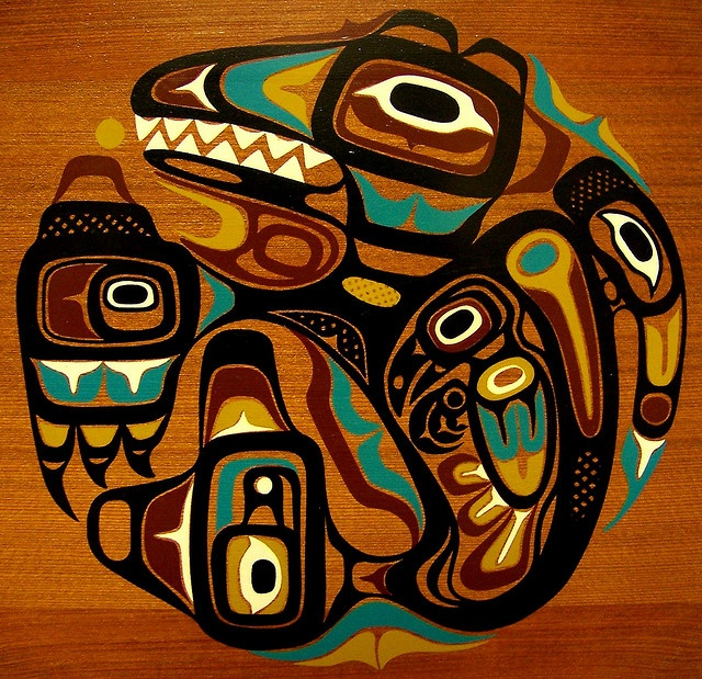 Canadian Northwest coast Native American Indian art on a wooden plate