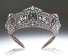 """A magnificent tiara worn at the coronation of both King George VI in 1937 and Her Majesty Queen Elizabeth II in 1953. Christies offers in his catalogue: """"One of the most outstanding and illustrious tiaras of English history which has been in the same family for over 100 years (estimate: £300,000-400,000). Appearing at auction for the first time."""""""