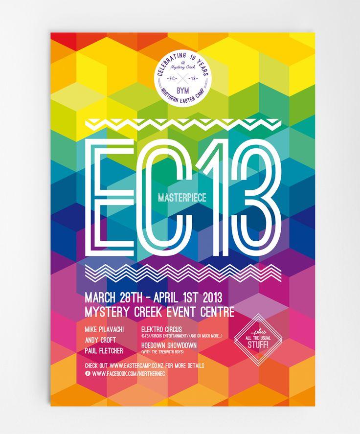Gorgeous geometric colourful poster  EC13
