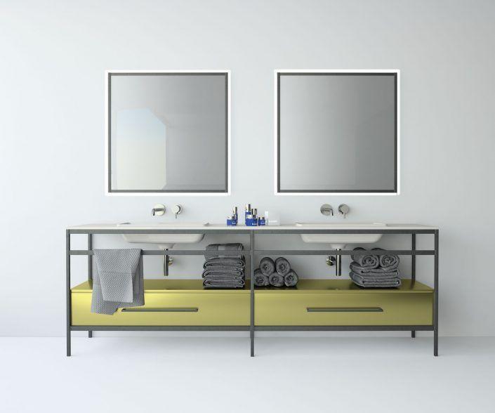 Muebles de baño a medida. Ejemplo de acabados en madera natural, laminados, lacas brillo o mate, etc.  unibaño-compactos-acabados-6