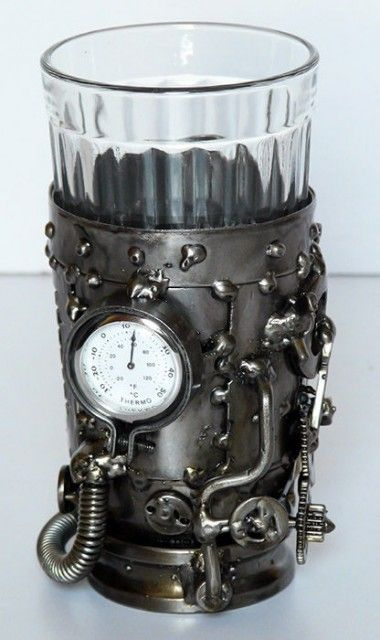 Steampunk glass holder with thermometer