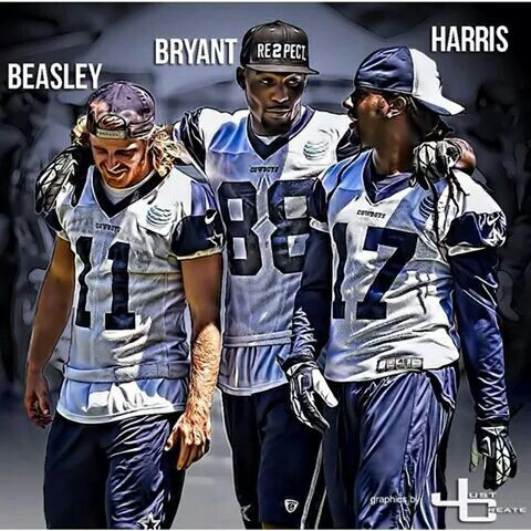 #11 Cole Beasley, #88 Dez Bryant, #17 Dwayne Harris - Dallas Cowboys Wide Receivers