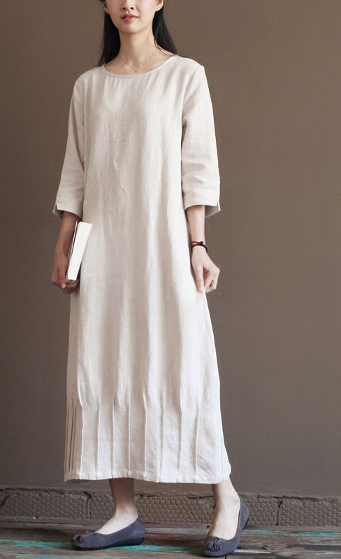 half sleeve linen dress. light blue linen sundress unique summer maxi dress caftan
