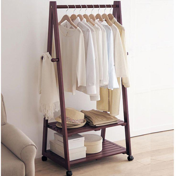 Floor Clothing Rack Organizer Living Room Coat Stand Display Shelf Hanging Hooks