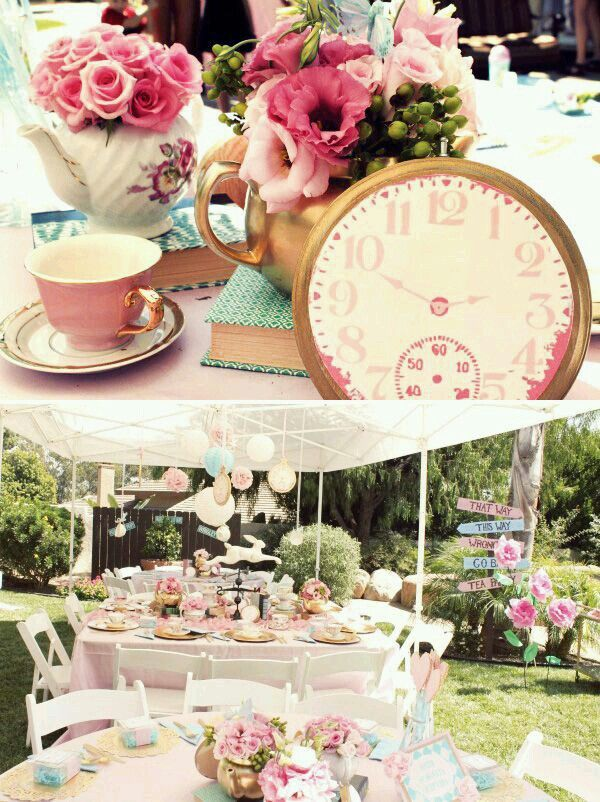 bridal shower teparty decorations%0A Adding flowers in teapots gives the decor a whimsical flare something the  Mad Hatter would do right