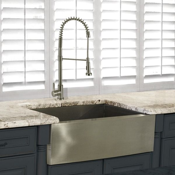 Highpoint Collection 30 Inch Stainless Steel Apron Sink Wth Faucet Set