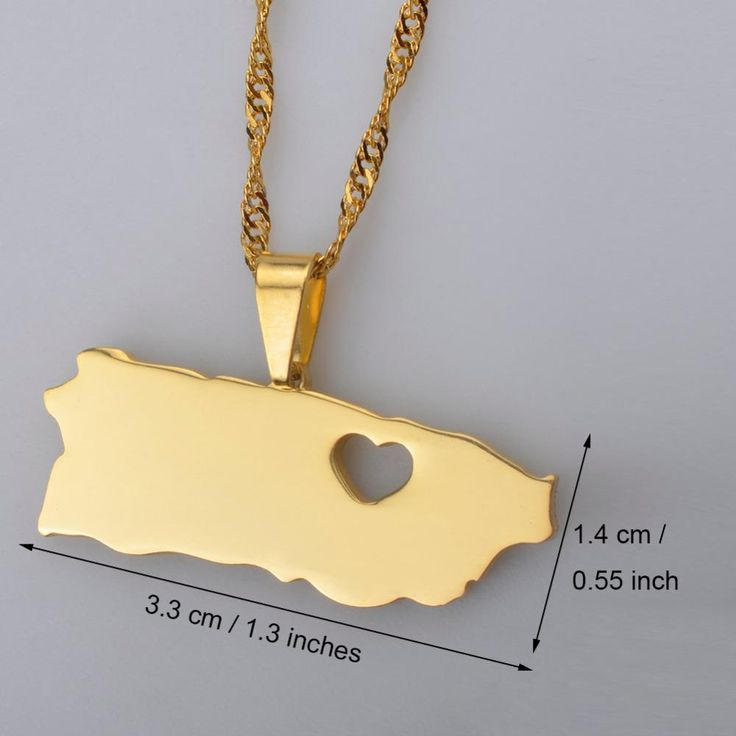 Puerto Rico With Heart Map Pendant Necklaces