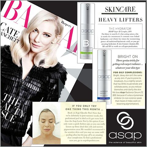 We are thrilled to be featured in this month's Harper's BAZAAR Australia future beauty, anti-ageing special! 'If you only try one thing this month … book an asap glycolic peel' say beauty director, Eugenie Kelly. Also look out for the asap super B complex in the 'Heavy Lifters' feature and asap radiance serum in the 'Bright On - genius tricks for getting red-carpet radiance' article. Grab your copy, on-shelf now!