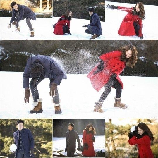 2014.01.06 「総理と私」少女時代 ユナ&ユン・シユン、恋人同士のような雪合戦