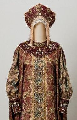 Dress and kokoshnik of a Russian tsarevna (princess) prior to the 17th. c.
