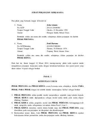 Contoh Surat Perjanjian Kerjasama In 2021 Surat Picture Places Proposal