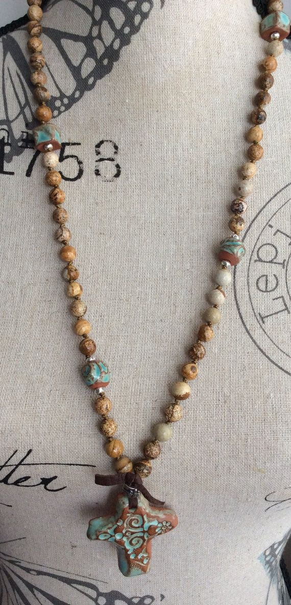 Cross knotted necklace rustic and earthy 'Sign by Mollymoojewels