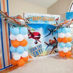 """No Planes themed party is complete without """"air controller"""" towers! Click for our balloon column how-to!"""
