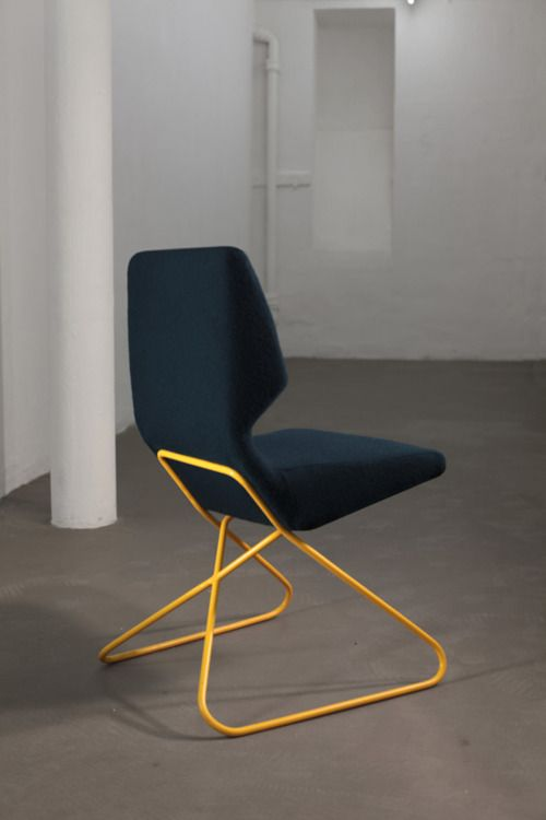 Contemporary blue chair.