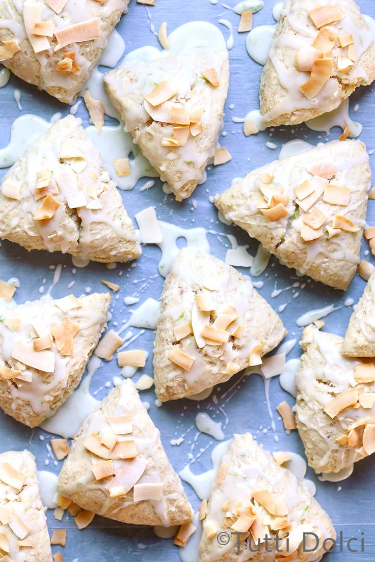 Coconut Cream Scones with Sweet Lime Glaze