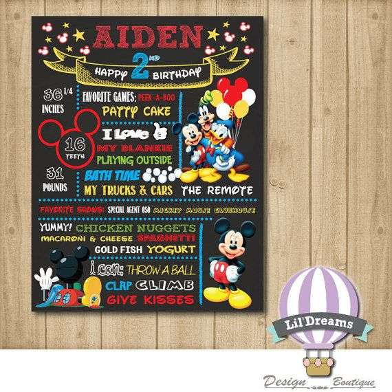 Mickey Mouse Clubhouse Chalkboard  DIGITAL  by LilDreamsDesign