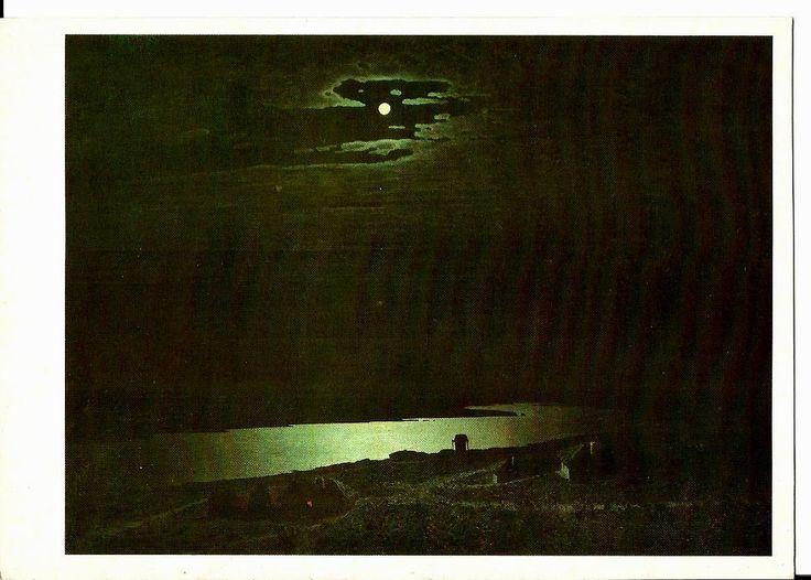 Night, Dnieper River, Vintage Russian Postcard, artist Kuindzhi unused print 1985 by LucyMarket on Etsy