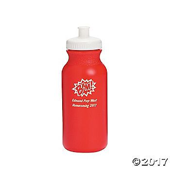 Opaque Red Superhero Personalized Plastic Water Bottles