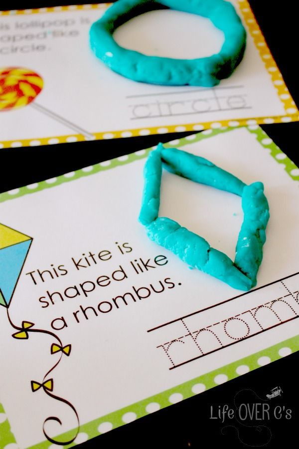 ÖFree Shape Play Dough Mats for working on fine-motor skills while learning shapes and practicing handwriting.