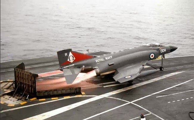 A Phantom FG1 of 892Sqn taking off from HMS Ark Royal (R09)
