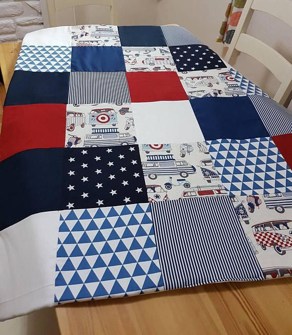 Beautifully handmade boys camper van and stars cot quilt. Check out my shop on Etsy to see my other creations  https://www.etsy.com/uk/listing/593637603/boys-cot-quiltblanket-funky-stars-and