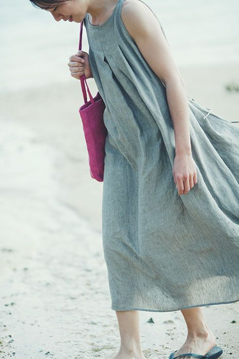 Tucked Dress Made of Belgian Linen