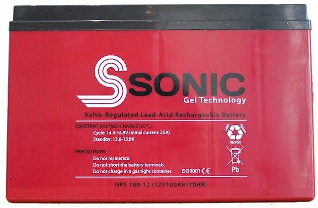 S Sonic 100Ah Gel Battery