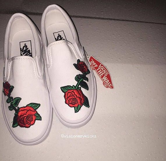 db0334908a2 Slip on custom stitched rose vans