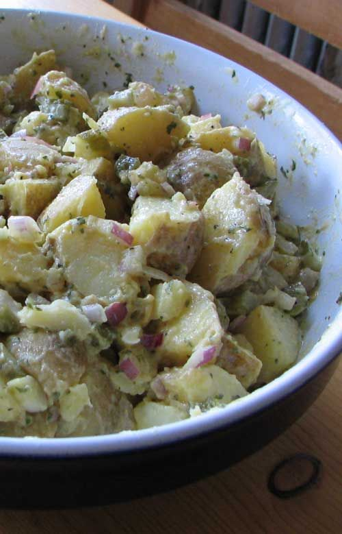 "Recipe for Authentic German Potato Salad - Bavarian Kartoffel Salat, from My ""Mutti"" Her customers, from her delicatessen, would buy it freshly made, and it always sold out by lunch time."