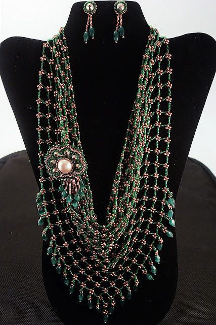 Green beaded kerchief with bronze connecting beads and detachable bead embroidery brooch and small earrings
