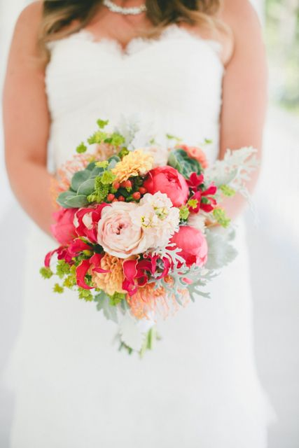 dusty miller, coral charm peony