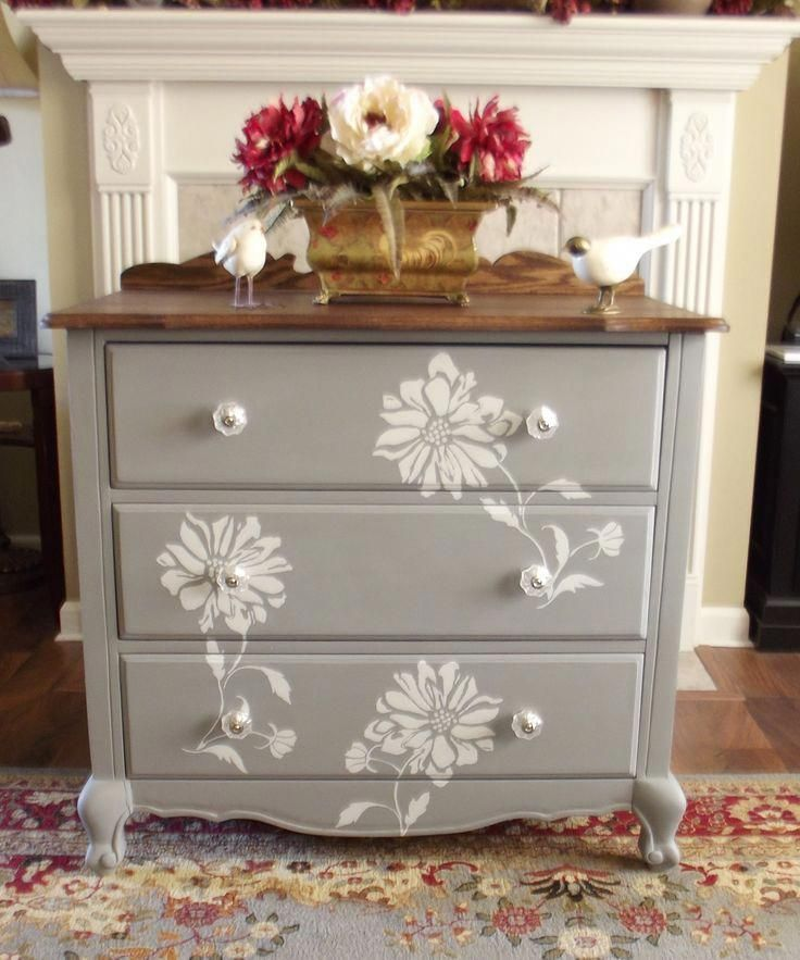 Chalk Painted Dresser With Stenciled Flower Motif